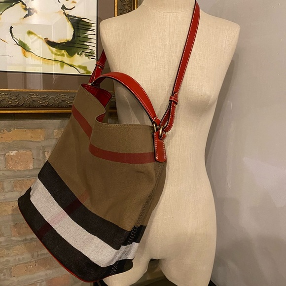 Burberry Canvas Red Leather Bucket Bag